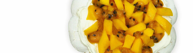 Pavlova mangue et fruit de la passion
