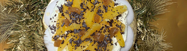 Pavlova crème de marron et oranges